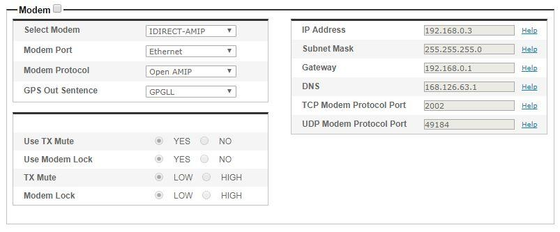The IP address and port number should match the modem