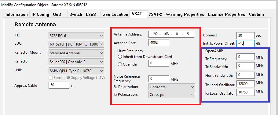 iDirect openAMIP option file settings